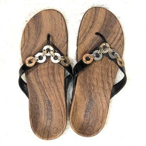 Orthaheel Lola Flip Flops Black Sandals 8
